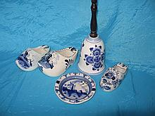 Mixed Holland Delft ware:- Elesva Bell with turned