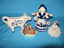 Decorative cabinet ware includes:- Lladro signed