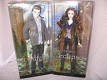 Two pink label Mattel NRFB Barbie Twilight Edward