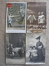 Four 1910s French Postcards of children with toys