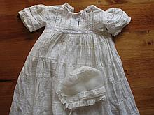 Beautiful antique cotton whitewear Christening Gown / bonnet 96cm long, rib