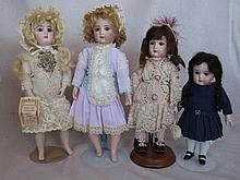 Four French / German porcelain Reproduction Artist Dolls 20-28cm includes:-