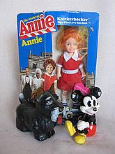 Six mixed toys:- OK Kader friction Scotty dog, MIB Annie doll, reglue to 9c