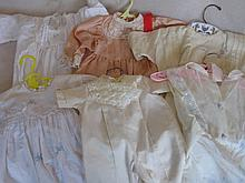 Mixed 20 plus Baby / some doll dresses includes:- antique silk, nylon, cott