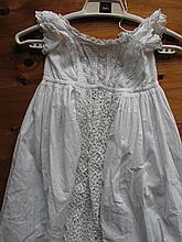 Antique cotton whitewear Christening Gown 117cm long, beautiful handmade ta