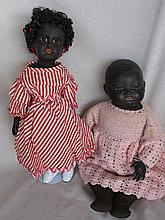 Two reproduction plaster composition dolls:- s-head black Jumeau 46cm in ca