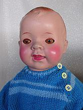 Two Japan Celluloid Babies:- Shoulderhead 56cm, brown s-eyes, replaced clot