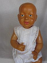 Celluloid 55cm Japan Baby, repainted blue eyes, blue vintage baby shoes, sp