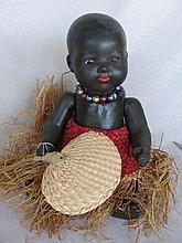 Brown plaster composition 33cm reproduction Brown baby. Closed red mouth, v