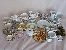 Mixed dolls / child Tea set piece's mostly Japan PLUS dollhouse furniture h