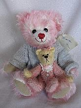 Two pink mohair Artist Bears:- 23cm pink tipped 'Diana' by German artist Ur