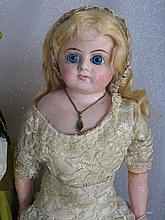 Two repaired shoulderhead antique German composition dolls. 50cm with face