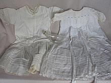 Two white vintage Infant Clothes:- Victorian night dress 53cm with lace tri
