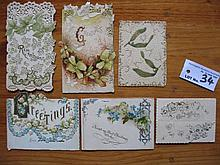 Sixteen antique Victorian Embossed Diecut Christmas & New Year Cards c1900