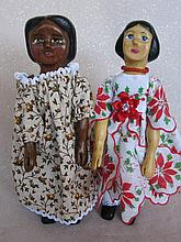 Two 2009 carved wood Schroeder 'Hitty' signed dolls