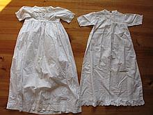 Three antique Victorian Child night whitewear garments, 74cm - 81cm - 94cm