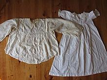 Two antique Victorian garments: Ladies cream silk blouse 56cm with lace yok
