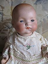German bisque 36cm 1930 Armand Marseille 341 Newborn baby, blue sleep glass