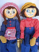 Pair of rare 70s Australian Carter-Wood 'Willie & Winki' dolls