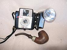 1957-62 Kodak Brownie Starlet camera & tobacco pipe