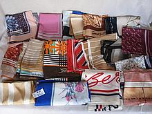 Forty six vintage 1950-80s Designer Scarves:- Cardin, Mercedes etc