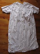 Three cotton antique Ladies night gowns with lace trim. Victorian 134cm whi