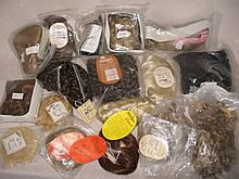 Mixed box of 17 Modern unused doll wigs, includes mohair, human hair, synth