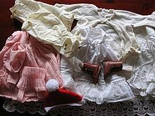 Mixed box of doll clothes includes:- cotton, velvet, very nice knitwear, pa