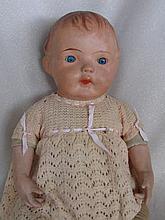 Unmarked vintage 48cm Composition Shoulderhead Baby. Inserted spiral thread