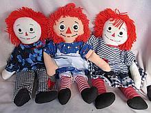 . Mixed dolls & Books:- Three Raggedy Ann 46cm clo