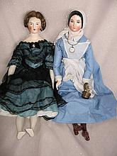 Two chinahead reproduction 46cm Earthenware dolls