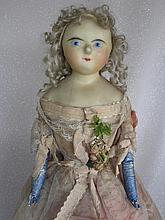 English c1860s Poured Wax over Papier Mache lady dome shoulderhead 24