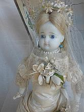 Vintage possible English Poured Wax doll in sealed old wood/glass display c