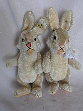 Two 50s Steiff 'Niki' Rabbits 23cm. Raised silver script buttons, remains o