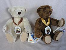 Two 1997 Steiff 150 Jahre Bears 28cm. Brown and white mohair, ear button, w
