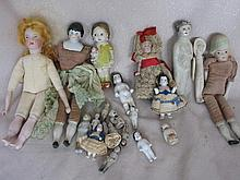 Mixed Antique & Vintage Cabinet Dolls:- includes a/f, bisque, Frozen Charol