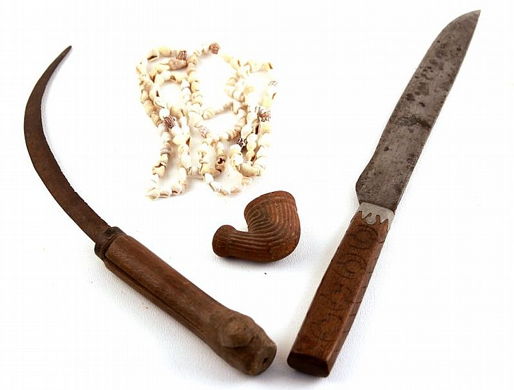 MISSISSIPPIAN BEADS INDIAN KNIFE & TRADE PIPE