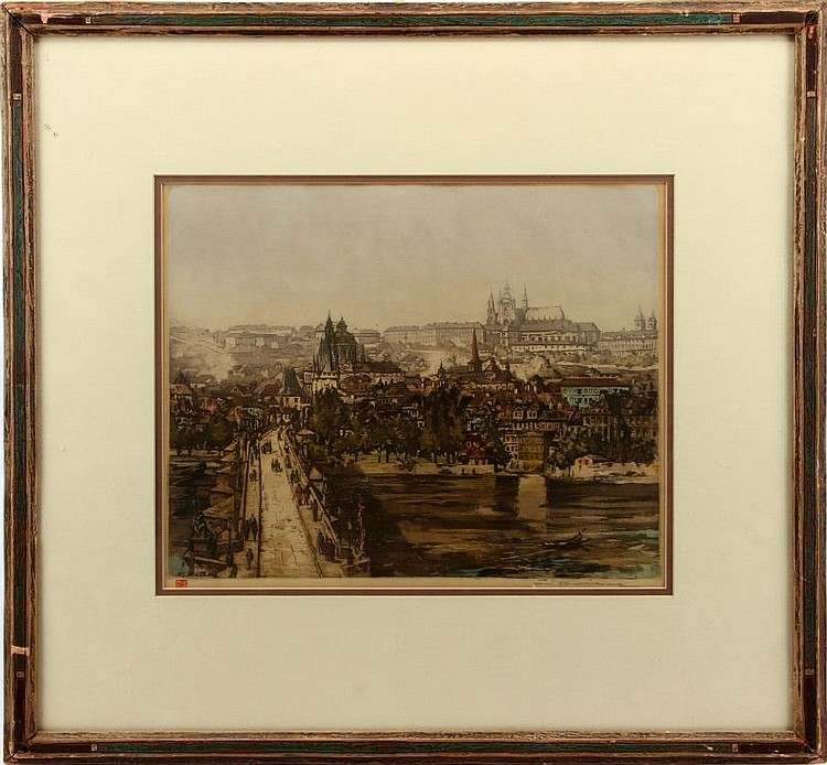 LATE 19TH CEN LITHOGRAPH OF PARIS SIGNED ROHLUNG
