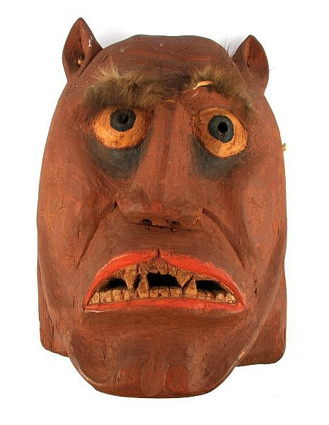 HAND-CARVED JAPANESE KABUKI WOOD DEMON MASK