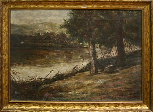 FRAMED E J SCHMELTZ OIL ON CANVAS LANDSCAPE