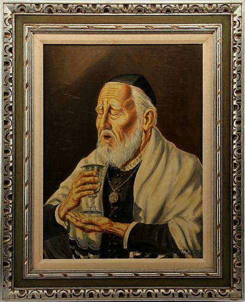 J. PELTA JUDAICA OIL PAINTING BENDICION DEL VINO