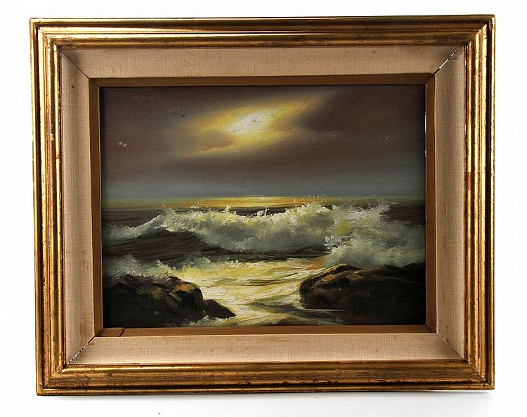 SEASCAPE FRAMED OIL PAINTING