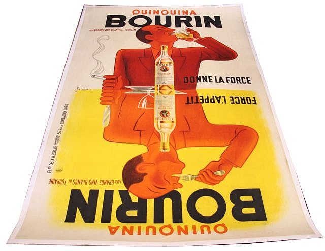 HUGE CANVAS BACKED QUINQUINA BOURIN POSTER