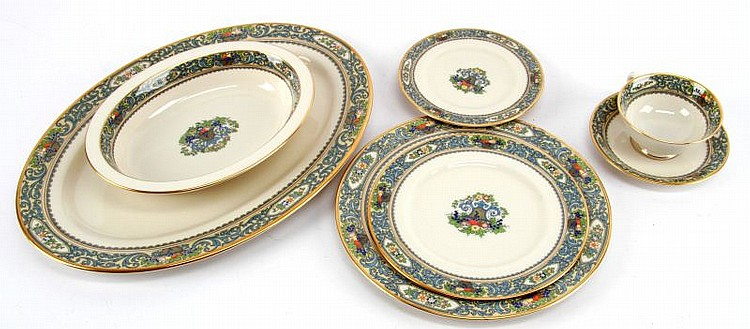 LENOX AUTUMN IVORY GOLD RIM CHINA 75 PIECE SET