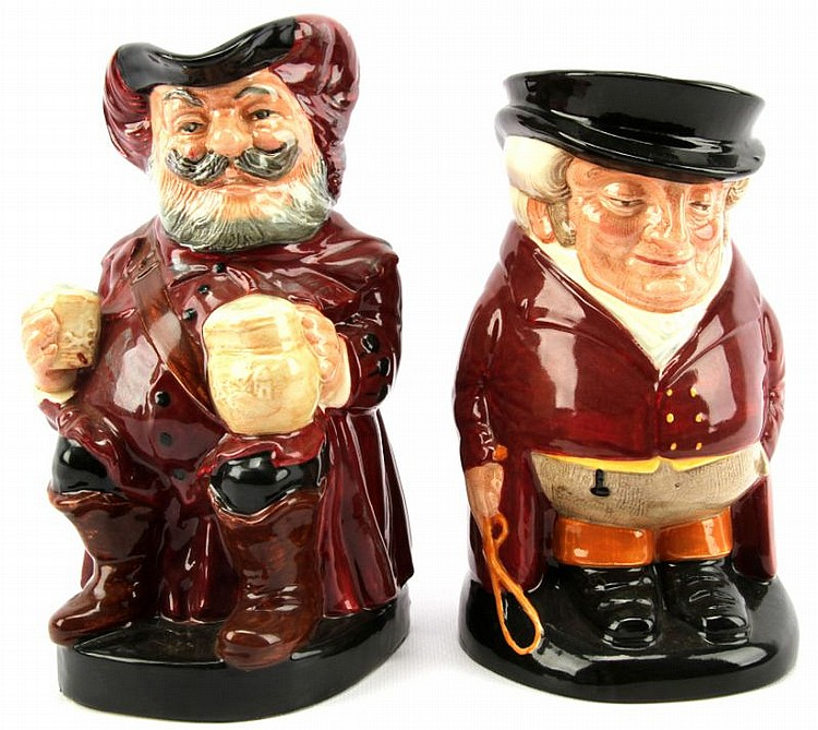 TWO ROYAL DOULTON LARGE TOBY JUG MUGS