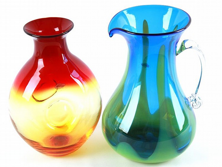 TWO LARGE BLENKO HAND BLOWN PIECES