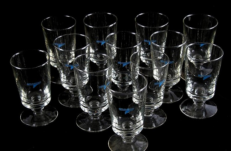 12 GRUMMAN FOOTED HIGHBALL GLASSES