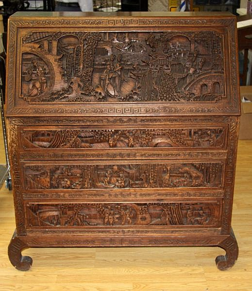 ANTIQUE HEAVILY CARVED TEAK CHINESE SLANT TOP DESK