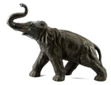 MID 20TH CENTURY ELEPHANT BRONZE 14.75 INCHES TALL