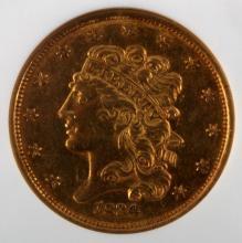 1834 PLAIN 4 CLASSIC $5 GOLD HALF EAGLE NGC AU58